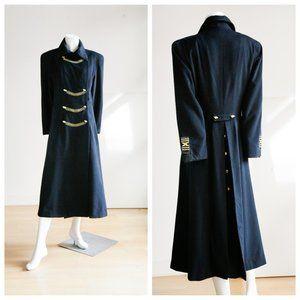Linda Cherry Black Wool Military Style Midi Coat